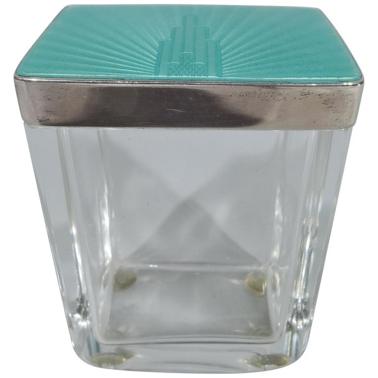 Art Deco Modern Sterling Silver and Enamel Skyscraper Vanity Jar For Sale