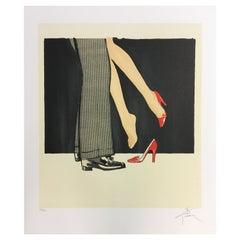 Art Deco Modern Unframed Rene Gruau Hand Signed Lithograph Bonjour Cherie