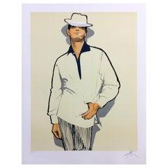 Art Deco Modern Unframed Rene Gruau Hand Signed Lithograph Homme a la Marguerite