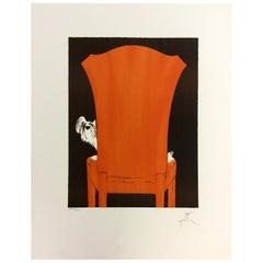Art Deco Modern Unframed Rene Gruau Hand Signed Lithograph La Chaise Rouge