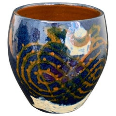 Art Deco/Modern Vase in Blue and Deep Orange, France