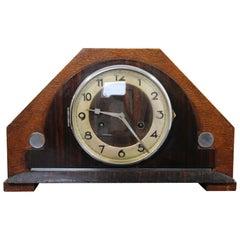 Art Deco Modern Wood Shelf Mantle Chime Clock with Key