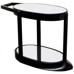 Art Deco Moderne Ebonized Wood and Glass Bar Cart or Trolley