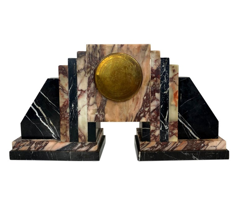 Mid-20th Century Art Deco Moderne Marble Bookends Mantle Clock, French, circa 1930s For Sale
