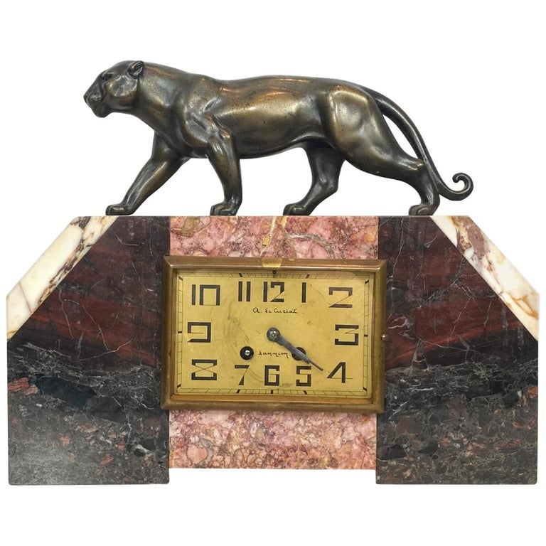 Art Deco Moderne Marble Mantel Clock with Panther, French, circa 1930s  For Sale