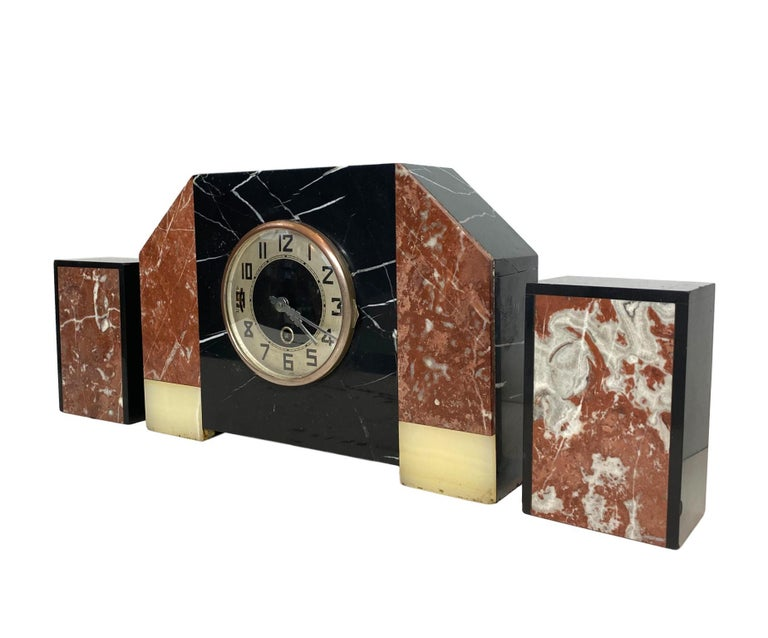 Hand-Crafted Art Deco Moderne Three-Piece Marble Clock Set, French, circa 1930s For Sale