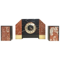 Art Deco Moderne Three-Piece Marble Clock Set, French, circa 1930s