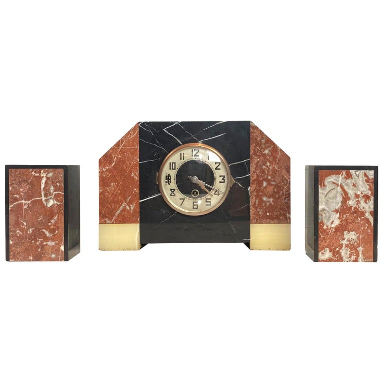 Art Deco Moderne Three-Piece Marble Clock Set, French, circa 1930s For Sale