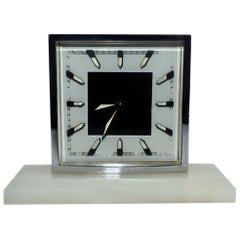 Art Deco Modernist 1930s Alarm Clock in Chrome and Oynx