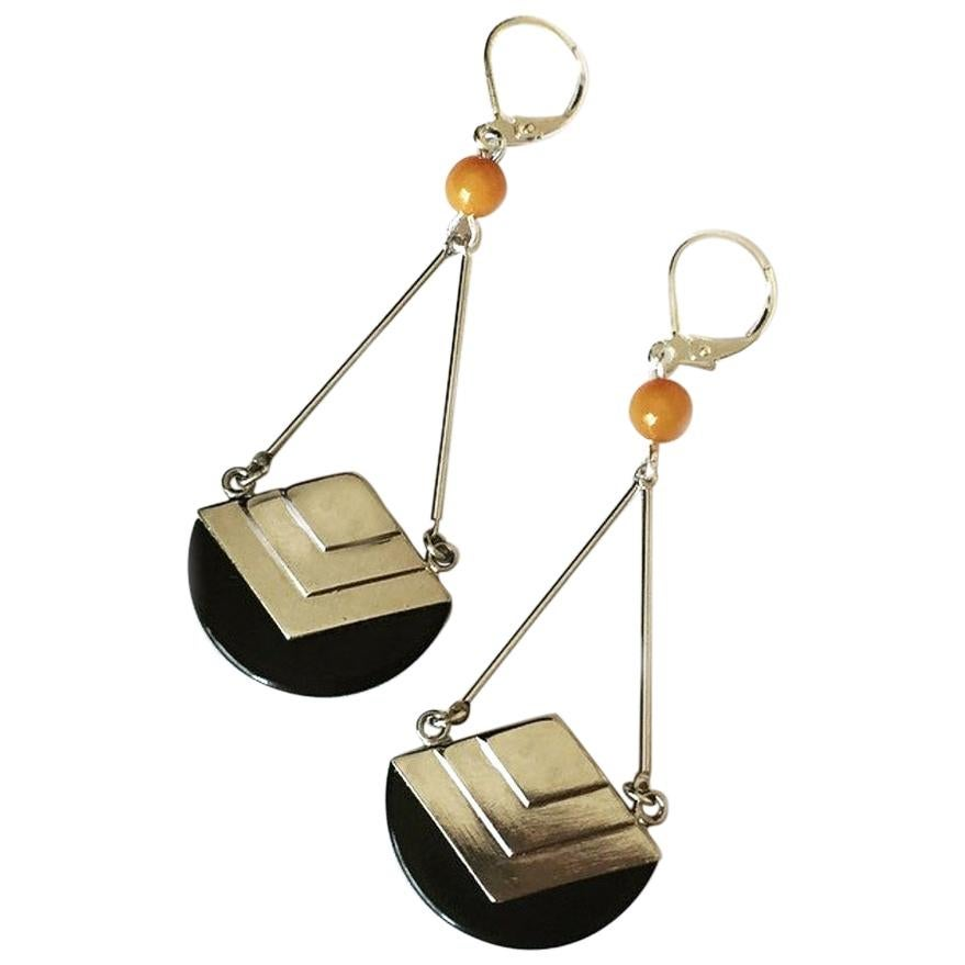 Art Deco Modernist 1930s Bakelite and Chrome Earrings