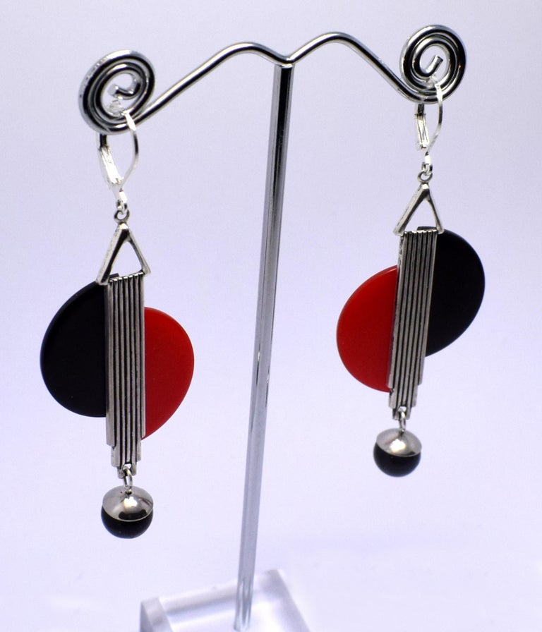 Art Deco Modernist 1930s Drop Earrings In Good Condition For Sale In Westward ho, GB