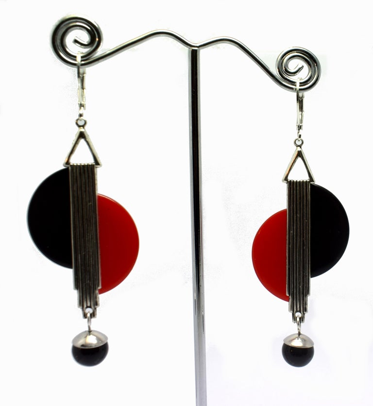 Women's Art Deco Modernist 1930s Drop Earrings For Sale
