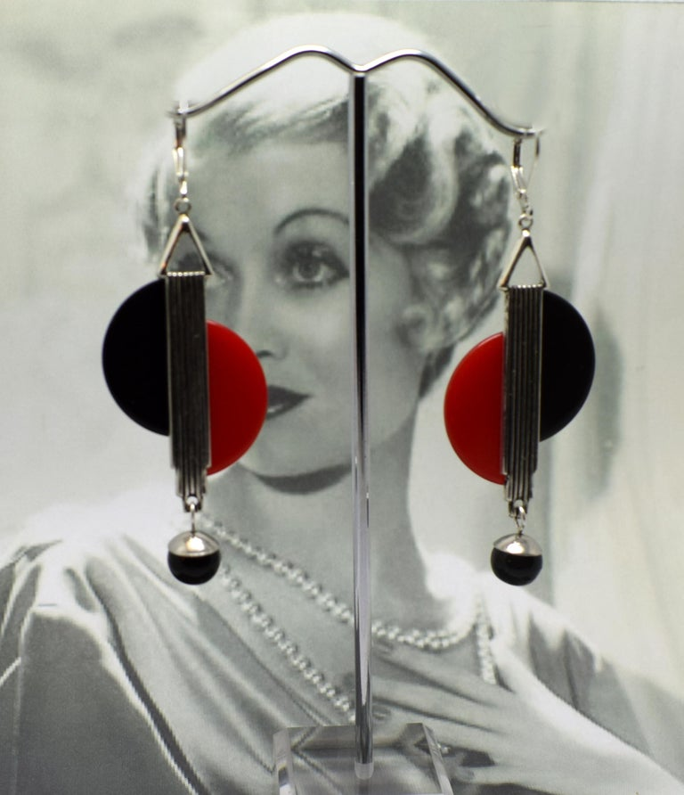 Art Deco Modernist 1930s Drop Earrings For Sale 2