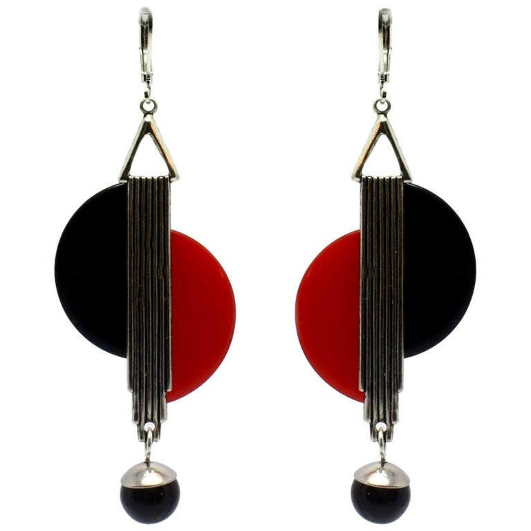 Art Deco Modernist 1930s Drop Earrings For Sale