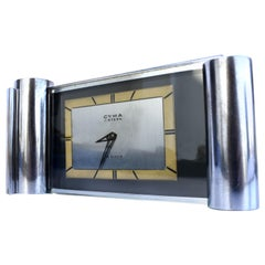 Art Deco Modernist 8 Day Chrome Clock by CYMA, c1930