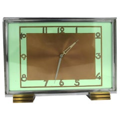 Art Deco Modernist 8 Day Green Glass Clock, circa 1930s
