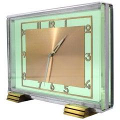 Art Deco Modernist 8 Day Green Glass Mantle Clock, circa 1930s