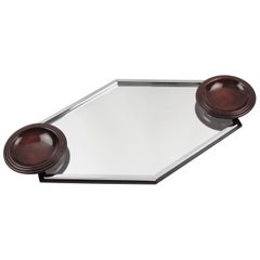 Art Deco Modernist Barware Cocktail Serving Tray Chrome Glass and Wood