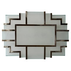 Art Deco Modernist Brass Ceiling Lamp with Nickel Finish