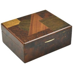 Art Deco Modernist Burl Wood Box with Wooden Marquetry