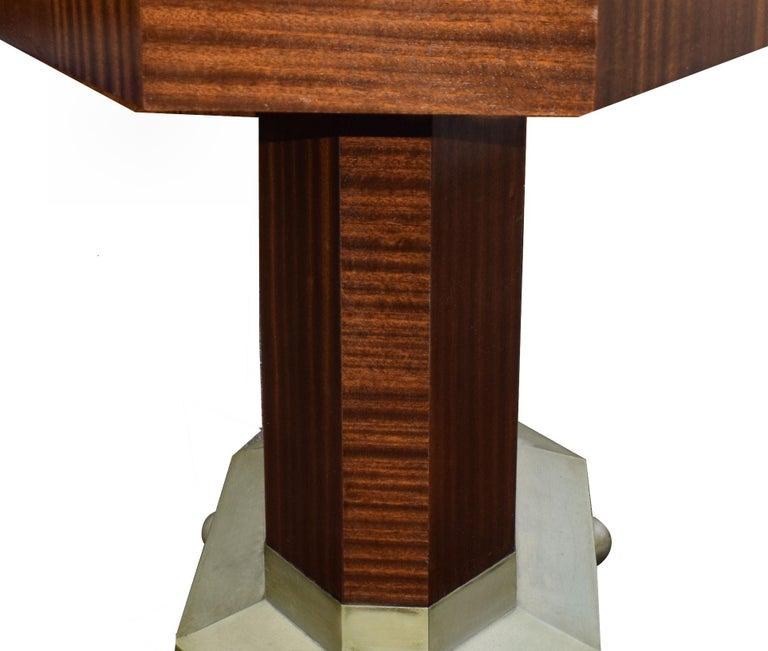 Metal Art Deco Modernist Center Table in Ebony Macassar, circa 1935 For Sale