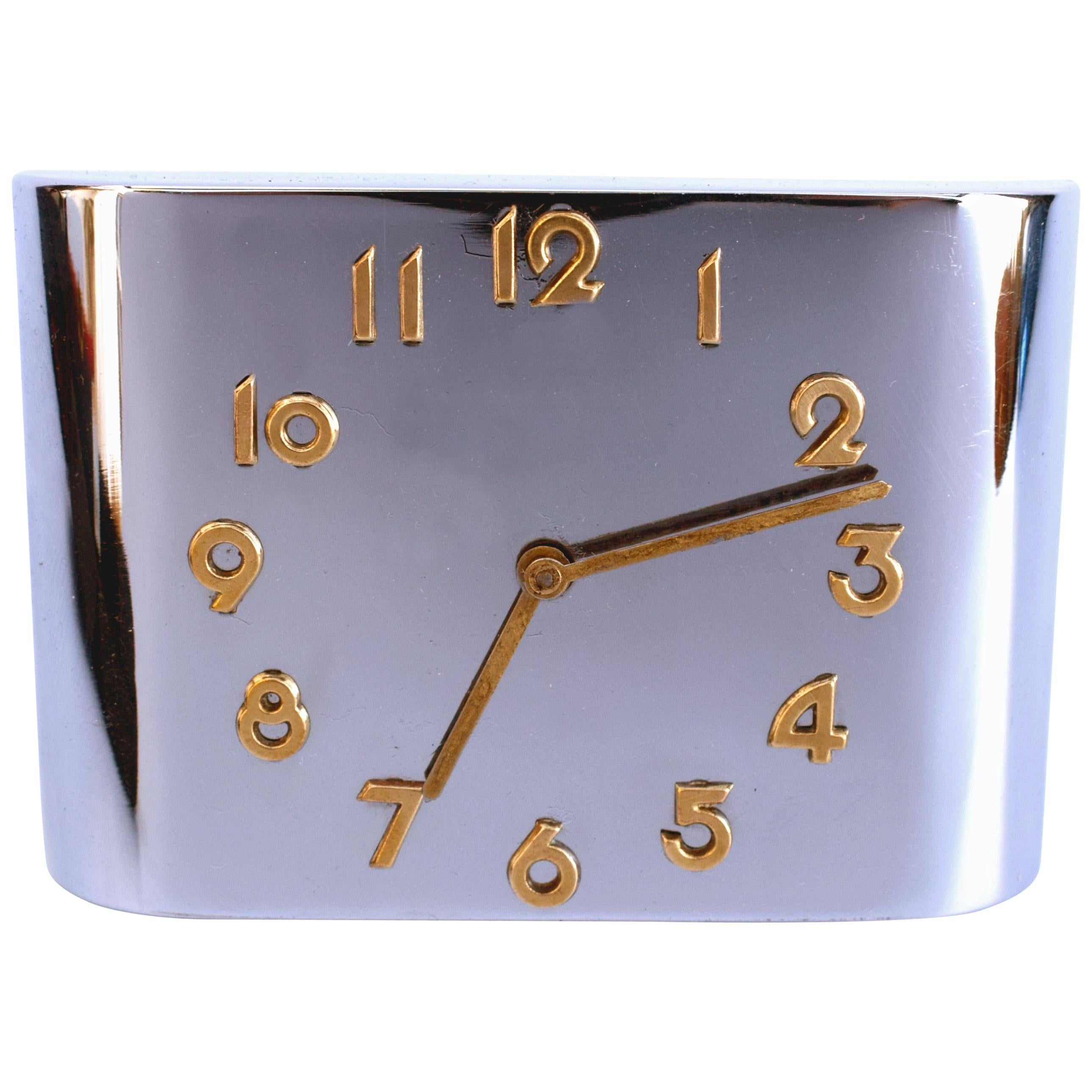 Art Deco Modernist Chrome Travel Alarm Clock, c1930
