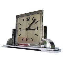 Art Deco Modernist Clock By Imhof, Swiss, c1930