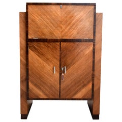 Art Deco Modernist Cocktail Cabinet, Dry Bar in Walnut & Macassar Ebony