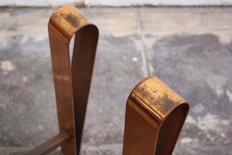 Art Deco/Modernist Copper & Cast Iron Andirons in the Manner of Donald Deskey For Sale 5