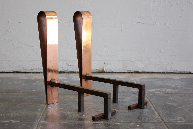 Wrought Iron Art Deco/Modernist Copper & Cast Iron Andirons in the Manner of Donald Deskey For Sale