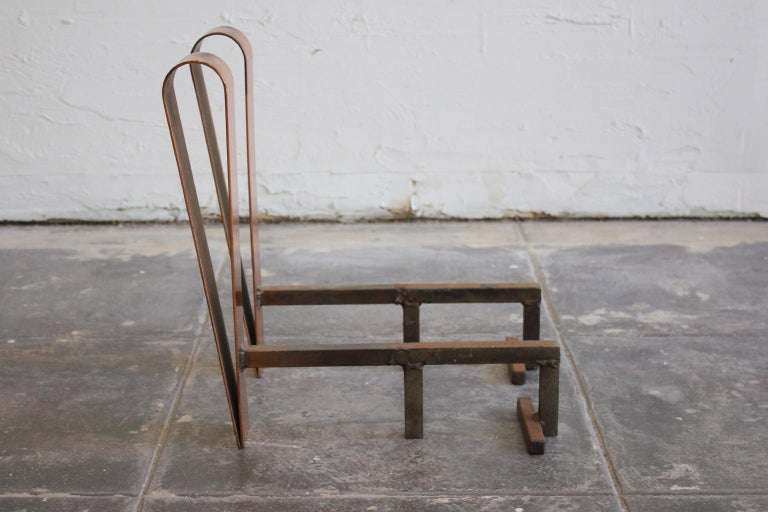 Art Deco/Modernist Copper & Cast Iron Andirons in the Manner of Donald Deskey For Sale 1