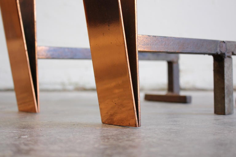 Art Deco/Modernist Copper & Cast Iron Andirons in the Manner of Donald Deskey For Sale 3
