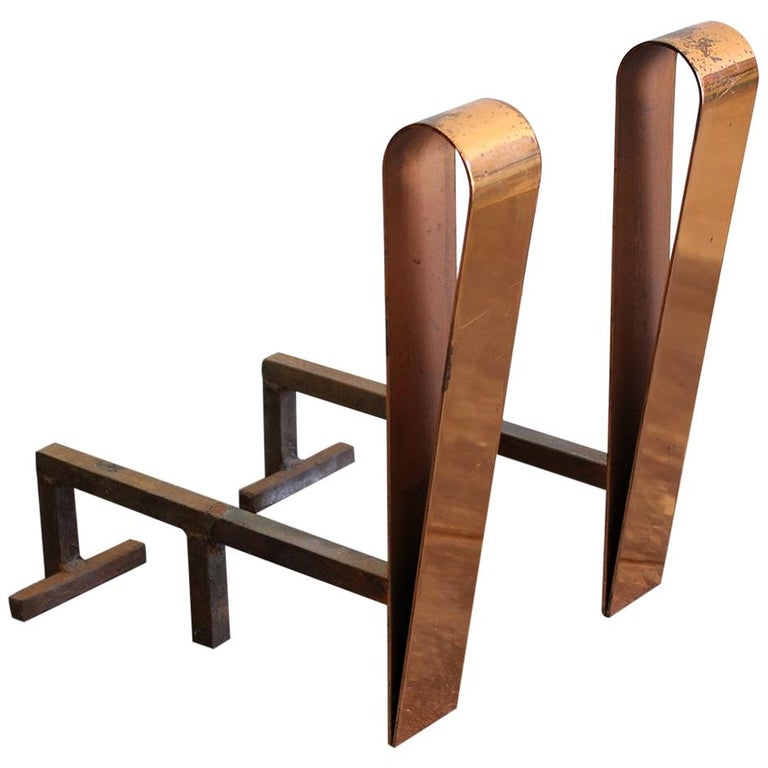 Art Deco/Modernist Copper & Cast Iron Andirons in the Manner of Donald Deskey For Sale