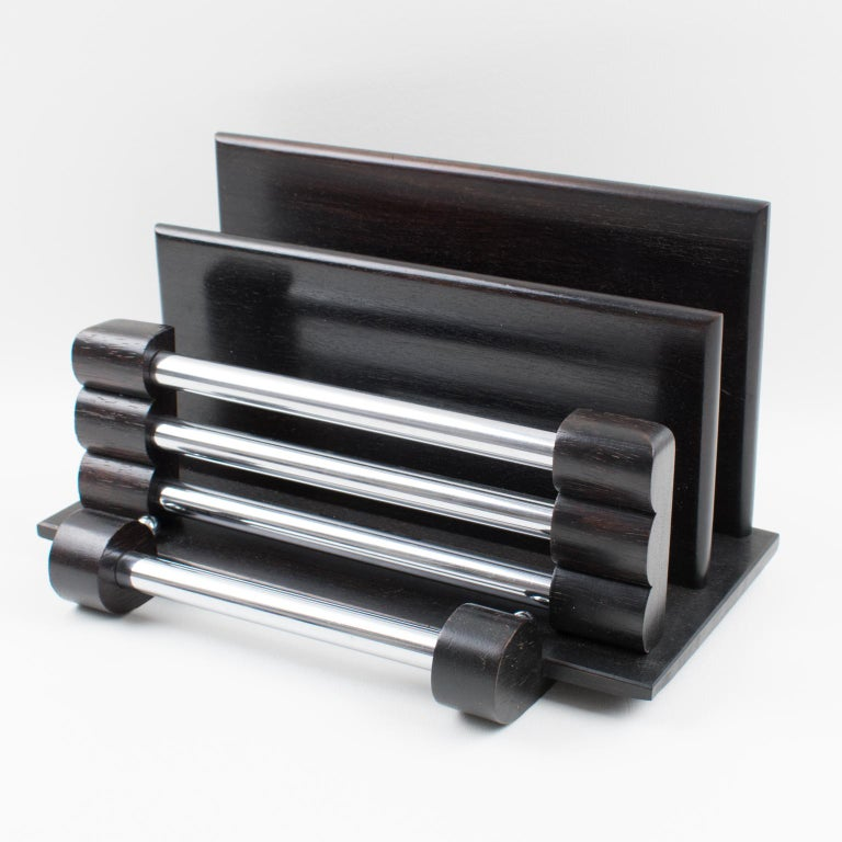 Stunning Art Deco modernist desk accessory, letter holder. Elegant minimalist geometric shape mail rack, with dark wood main body and chromed metal accents. No visible mark.  Measurements: 11.82 in. wide (30 cm) x 7.50 in. deep (19 cm) x 6.69 in.