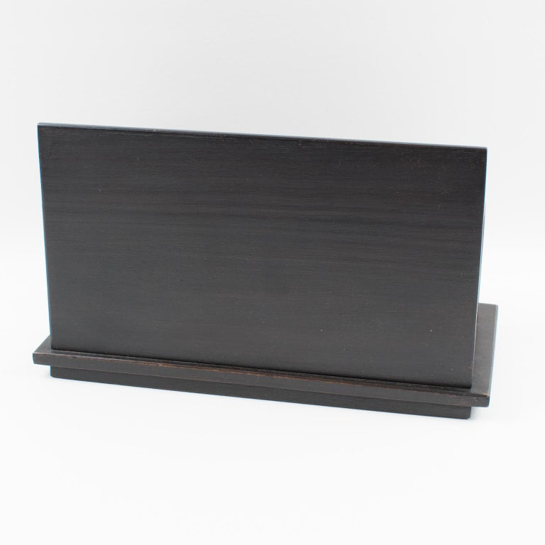 Mid-20th Century Art Deco Modernist Dark Wood and Chrome Desk Accessory Letter Holder For Sale