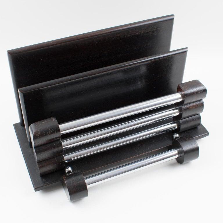 Art Deco Modernist Dark Wood and Chrome Desk Accessory Letter Holder For Sale 1