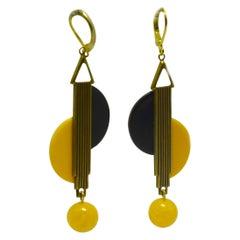 Art Deco Style Modernist Drop Earrings