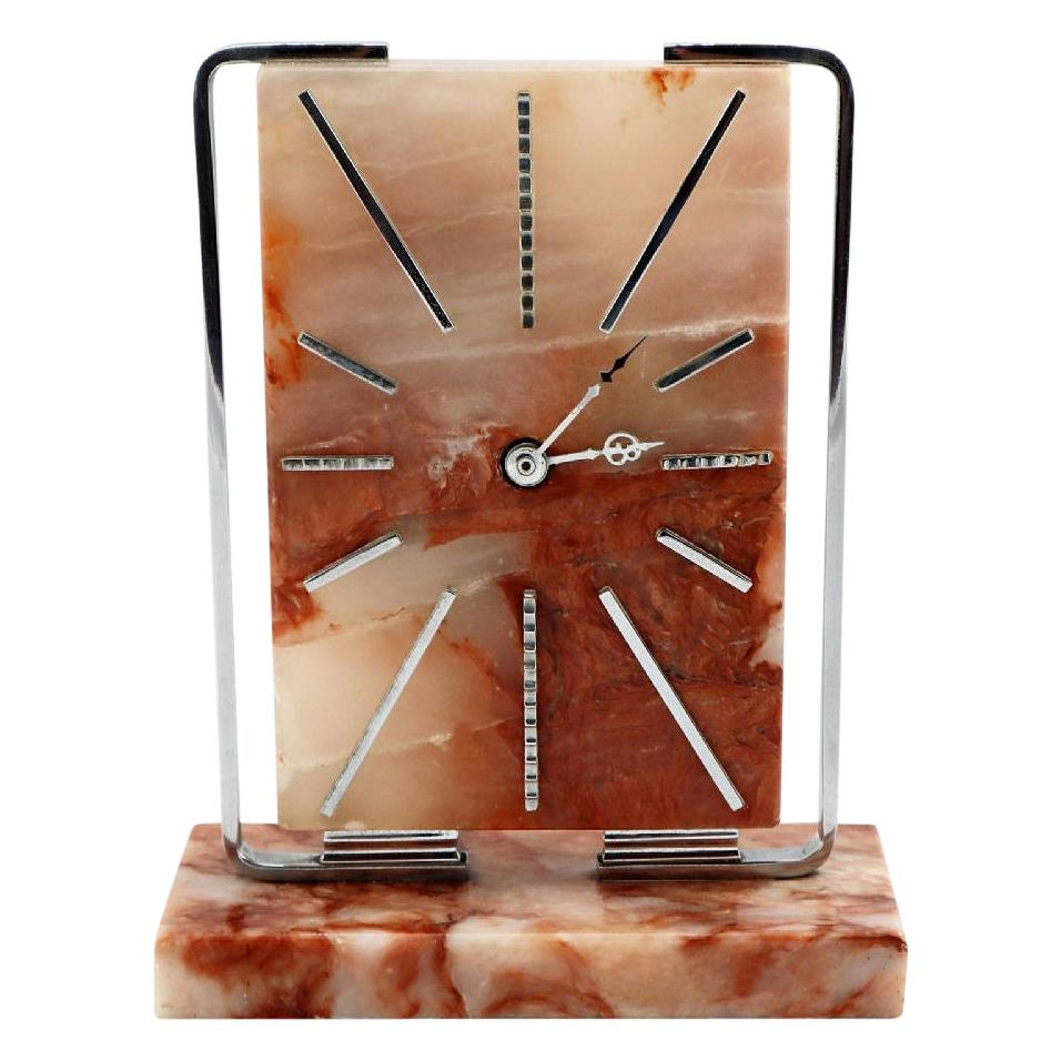 Art Deco Modernist English Clock, Made from Onyx, circa 1930s