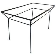 Art Deco Modernist Iron and Glass Patio/Outdoor Table