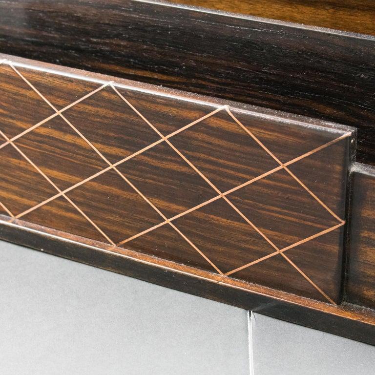 Art Deco Modernist Macassar Wood and Copper Desk Accessory Letter Holder For Sale 5