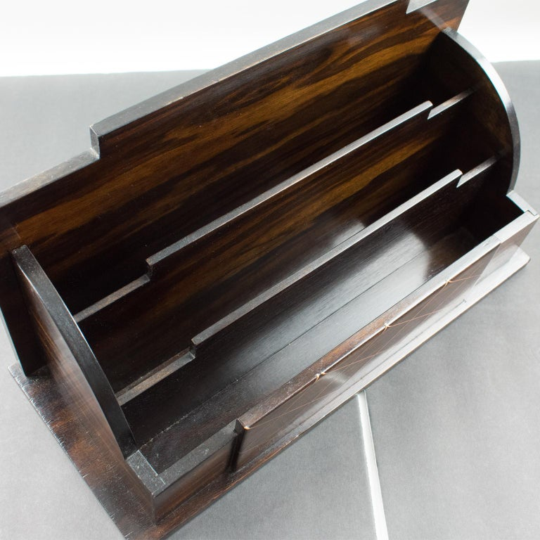 Art Deco Modernist Macassar Wood and Copper Desk Accessory Letter Holder For Sale 7
