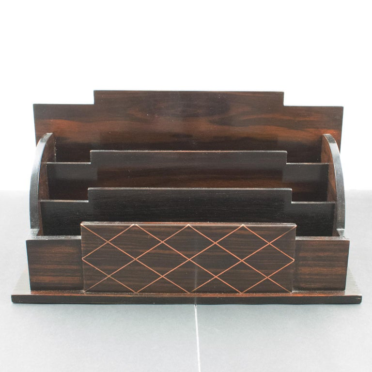 French Art Deco Modernist Macassar Wood and Copper Desk Accessory Letter Holder For Sale