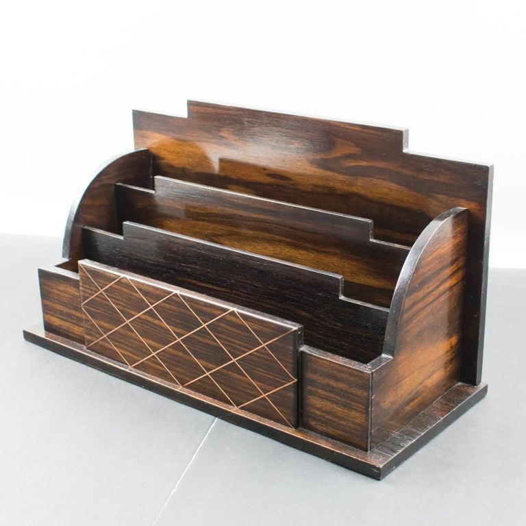 Art Deco Modernist Macassar Wood and Copper Desk Accessory Letter Holder In Good Condition For Sale In Atlanta, GA