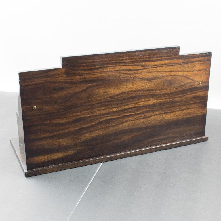 Art Deco Modernist Macassar Wood and Copper Desk Accessory Letter Holder For Sale 1