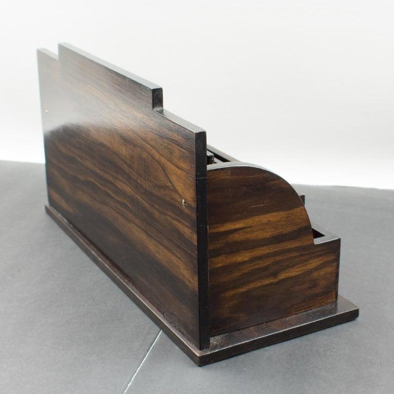 Art Deco Modernist Macassar Wood and Copper Desk Accessory Letter Holder For Sale 2