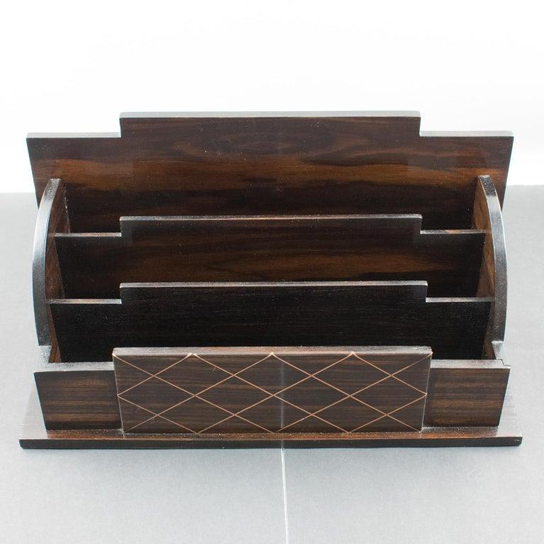 Art Deco Modernist Macassar Wood and Copper Desk Accessory Letter Holder For Sale 3