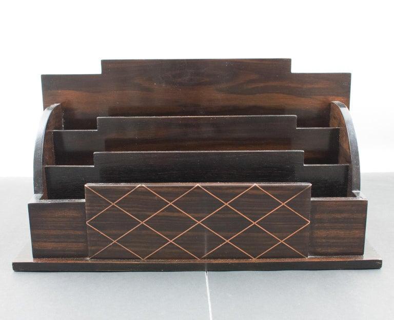 Art Deco Modernist Macassar Wood and Copper Desk Accessory Letter Holder For Sale 4