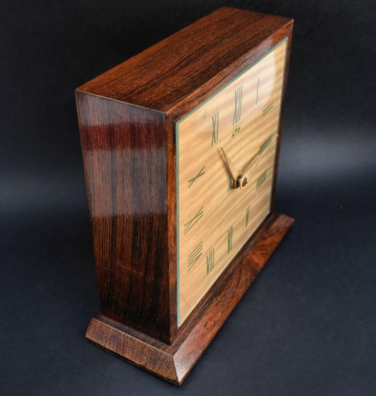 French Art Deco Modernist Mantle Clock by ATO, 1930s For Sale