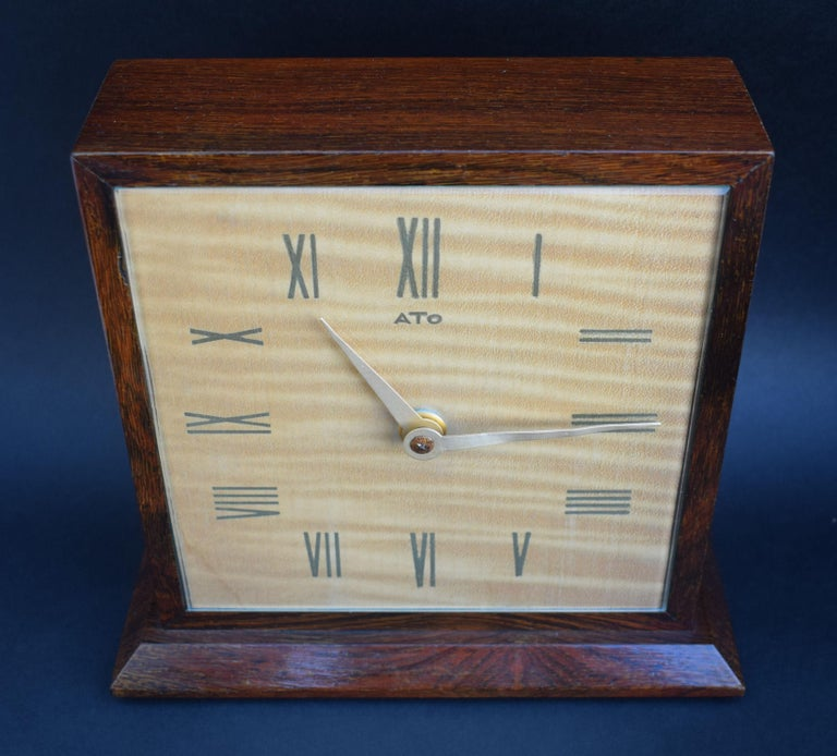 20th Century Art Deco Modernist Mantle Clock by ATO, 1930s For Sale