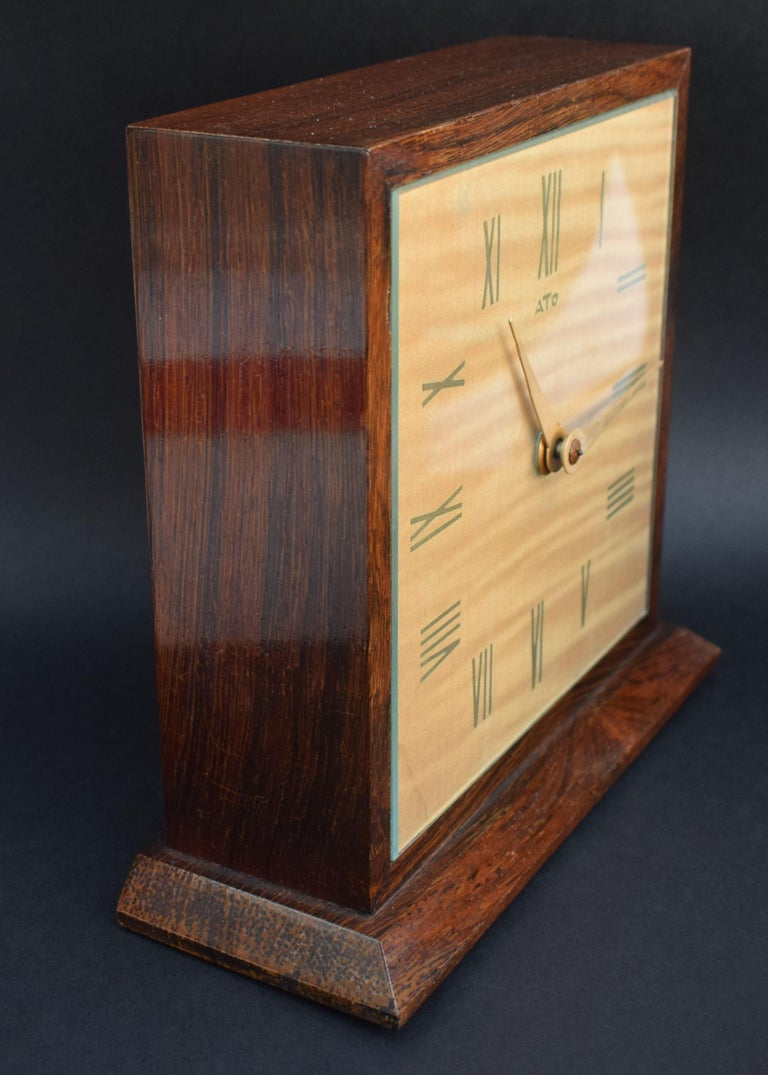 Glass Art Deco Modernist Mantle Clock by ATO, 1930s For Sale